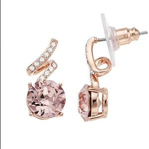 Brilliance by Swarovski Crystal Rose Pink Earrings